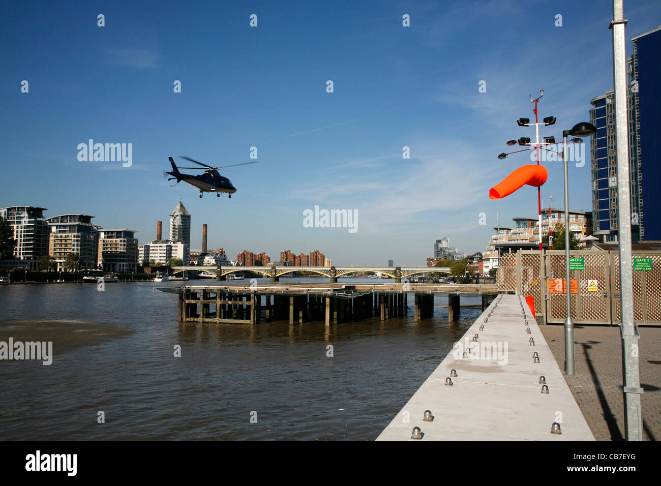 Helicopter landing at Battersea Heliport, Battersea, London, UK - Stock Image