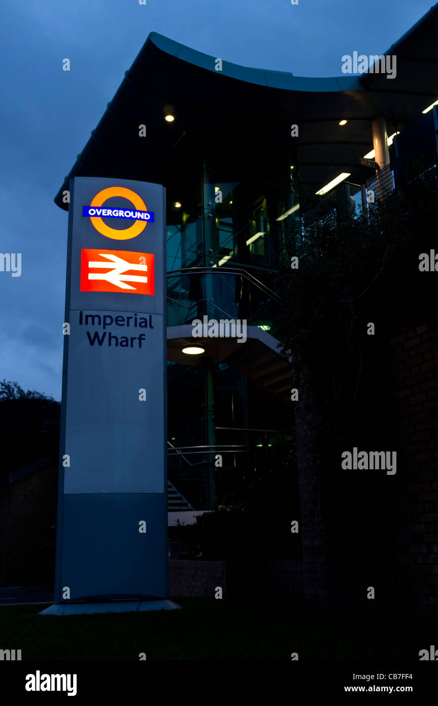 The Imperial Wharf London overground station near Chelsea Harbour in the evening. - Stock Image