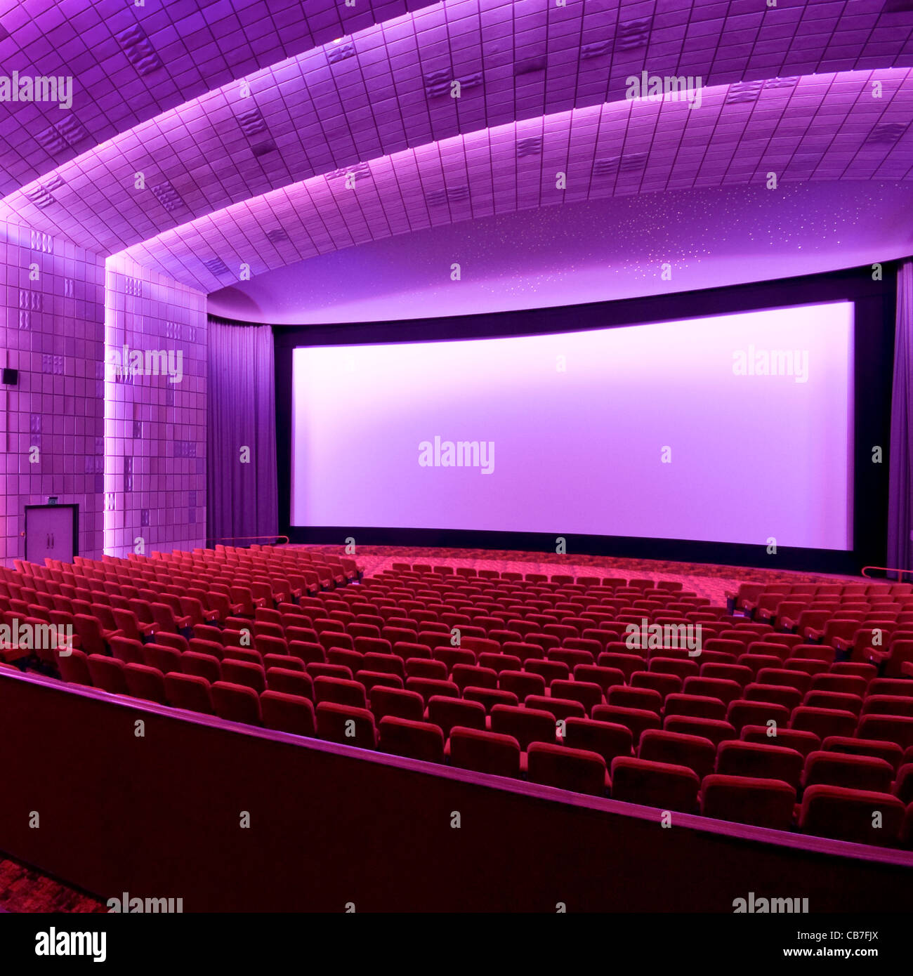 The seats and screen of screen 7 within The Empire, Leicester Square - Stock Image