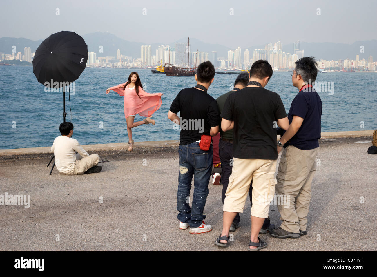 Photographers Taking Photos Of A Model On Hong Kong Island Hksar China