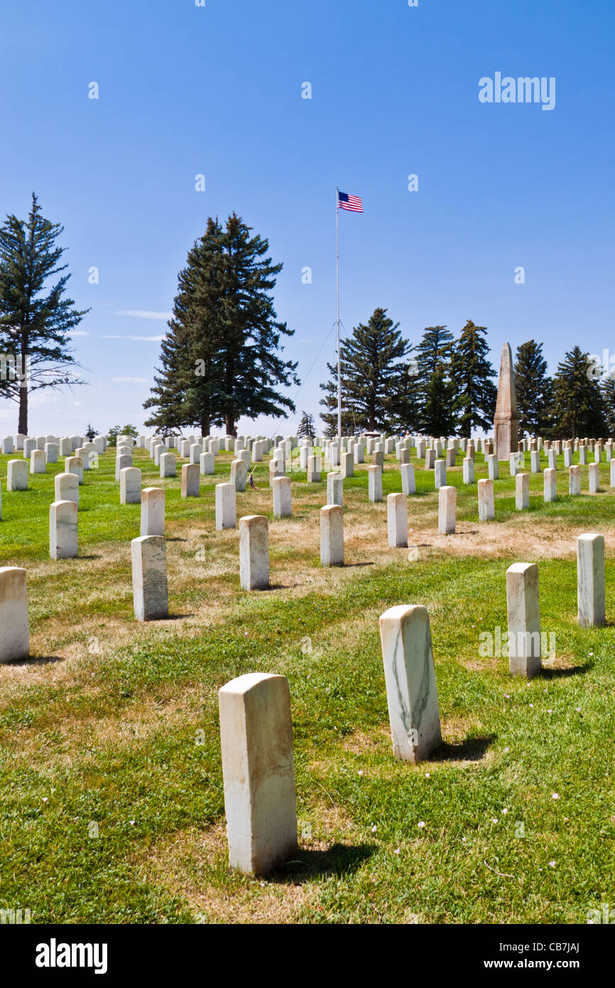 7th Cavalry military memorial cemetery at the Little Bighorn Battlefield National Monument in Montana. Stock Photo