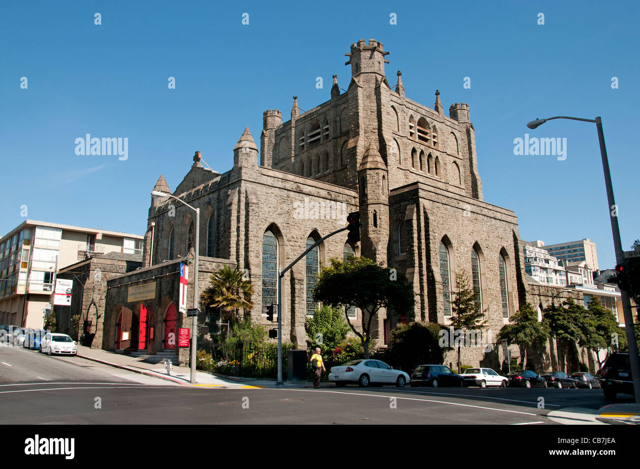 TRINITY EPISCOPAL CHURCH 1849 oldest church Pacific Coast. second oldest congregation San Francisco California United - Stock Image