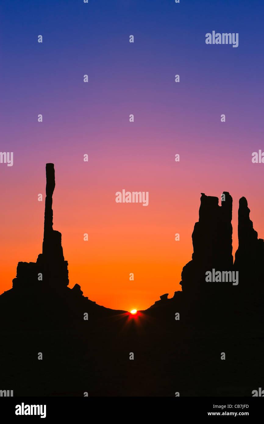 Totem Pole at sunrise, Monument Valley, Utah - Arizona Stock Photo