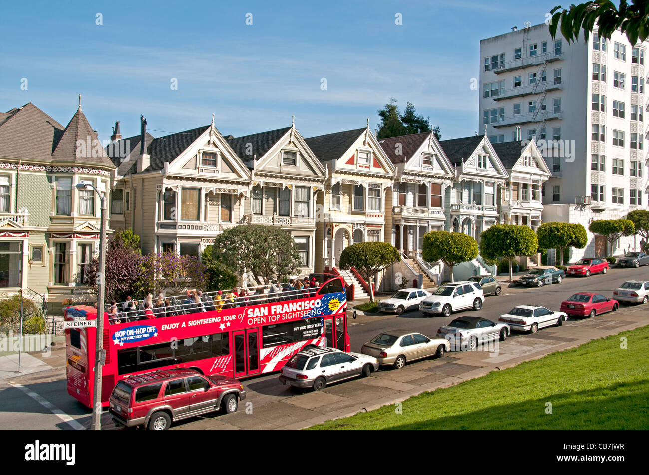 San Francisco Alamo Square Haight  Ashbury California United States - Stock Image