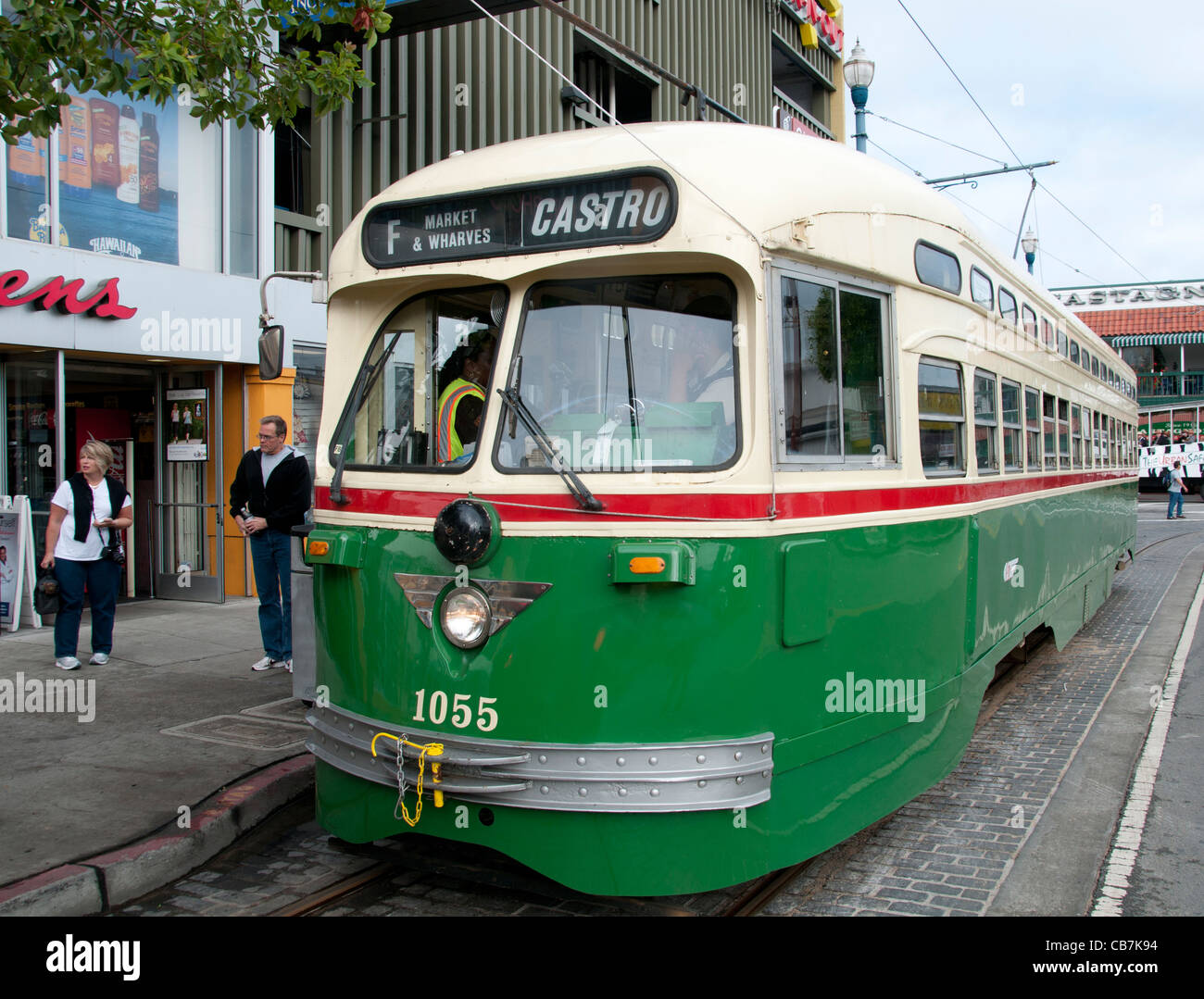 San Francisco Heritage Streetcars F-Line 30 vintage trams California USA - Stock Image