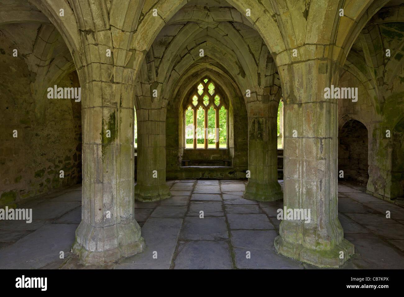 Vaulted Chapter House at Valle Crucis in Llantysilio, near Llangollen, Wales, Cymru, UK, United Kingdom, Stock Photo