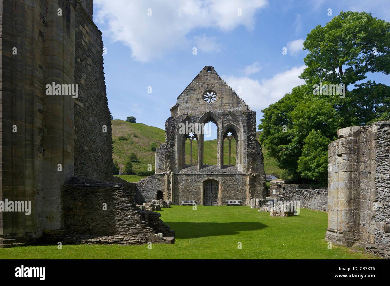 Valle Crucis ruined Cistercian abbey in Llantysilio, near Llangollen, Wales, Cymru, UK, United Kingdom, Stock Photo