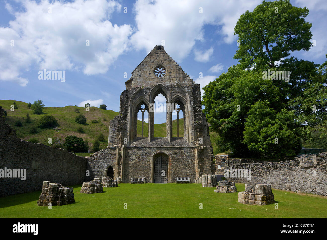 Valle Crucis ruined Cistercian abbey in Llantysilio, near Llangollen, Wales, Cymru, UK, United Kingdom, Stock Photo