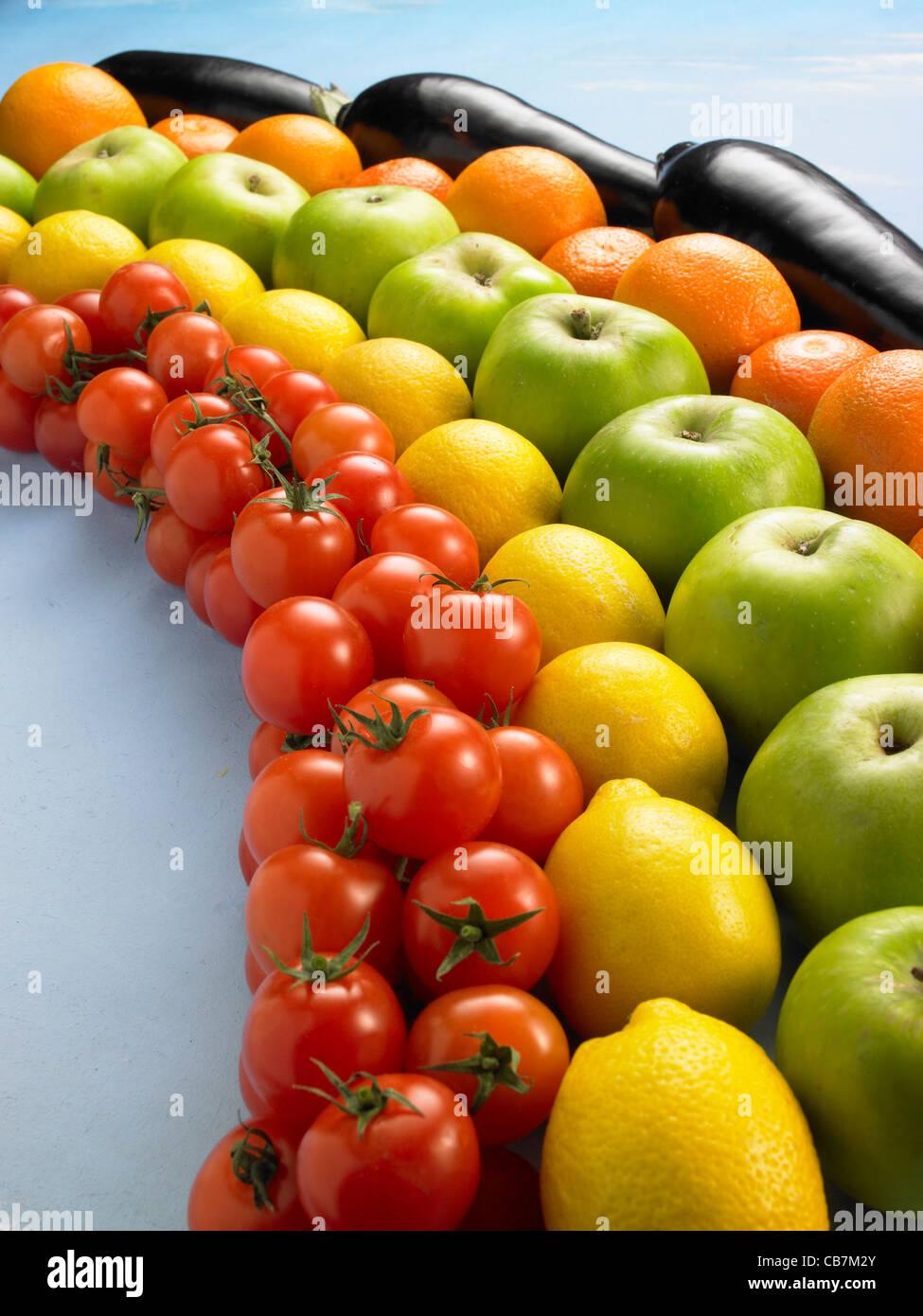 Tomatoes,lemons,green apples,Oranges, Aubergines - Stock Image