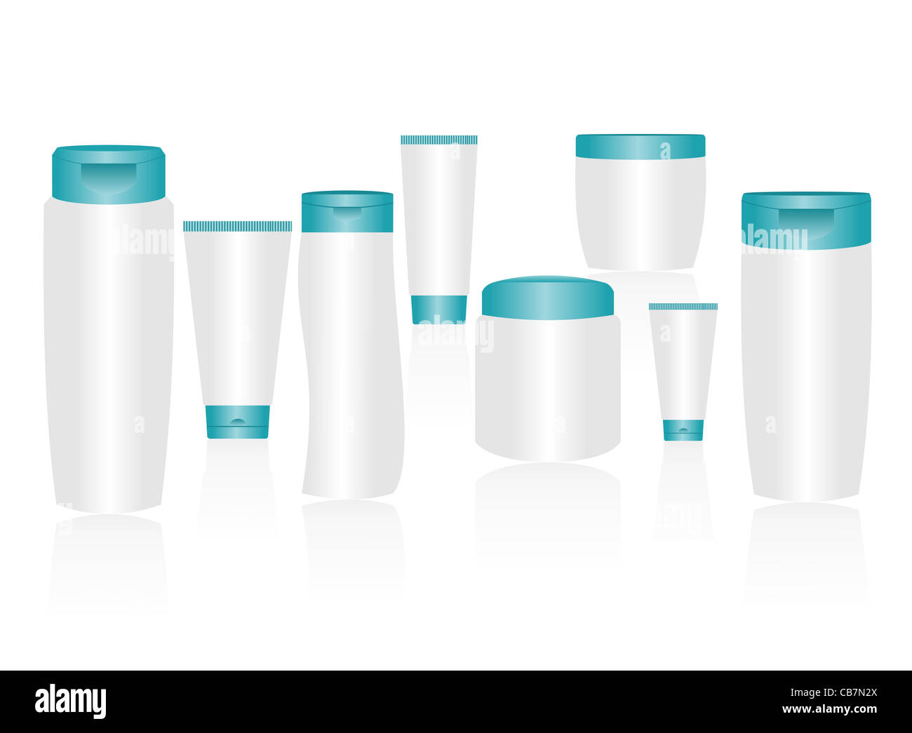 Vector cosmetic container templates for designers. Editable - Stock Image