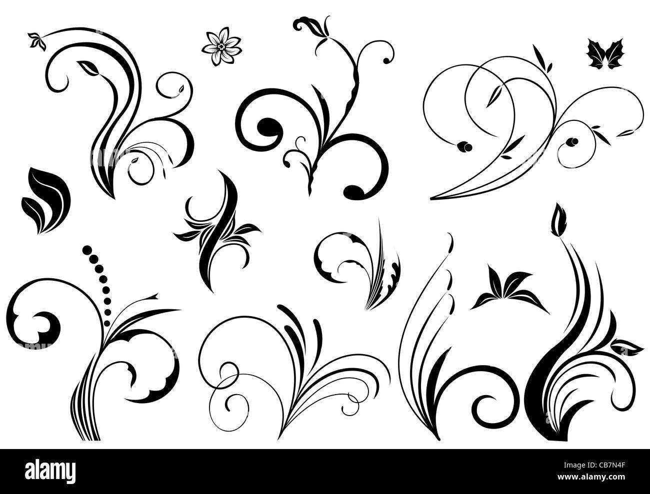 Illustration Set Floral Ornate Design Elements Vector Stock Photo Alamy