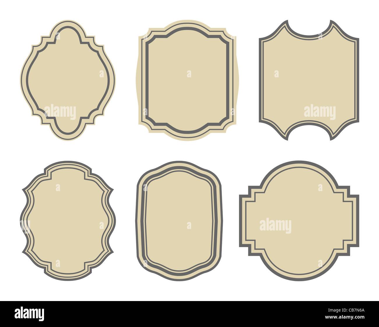 Illustration set of stickers, vintage frames - vector - Stock Image