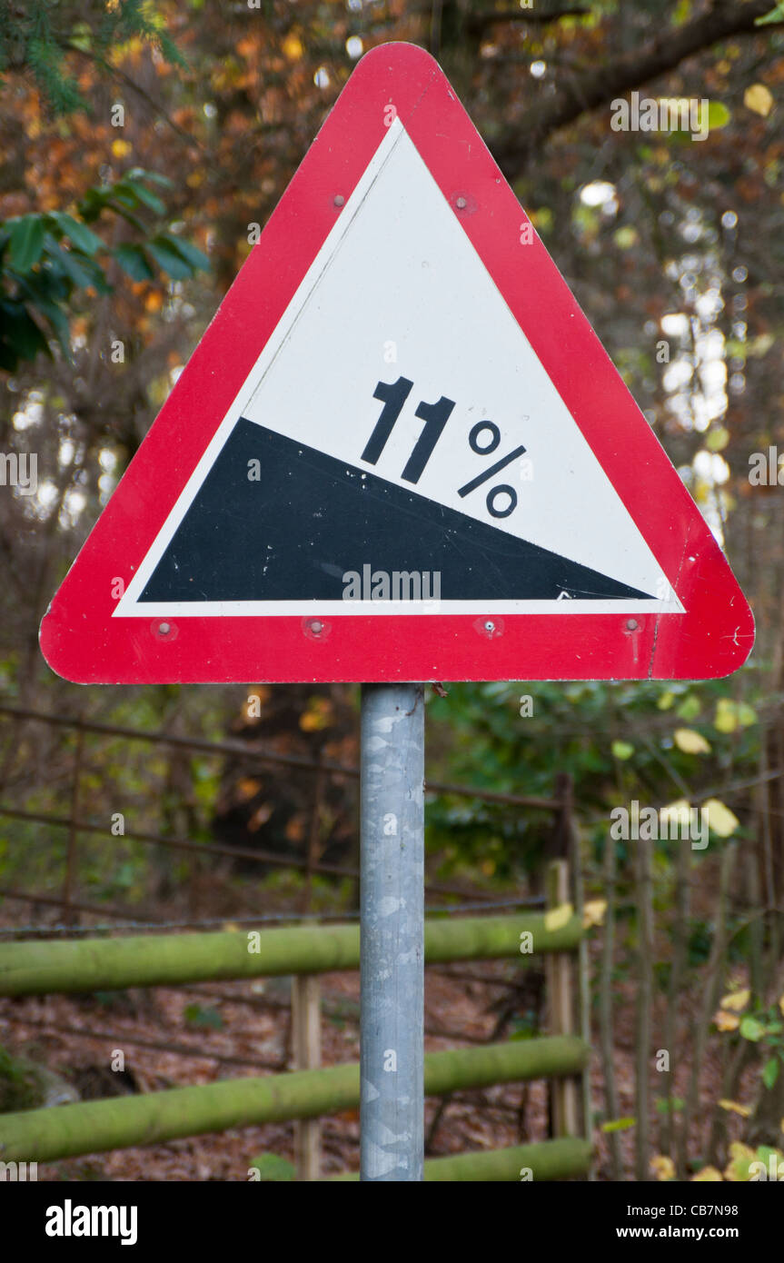 Warning road sign for steep hill '11%' - Stock Image