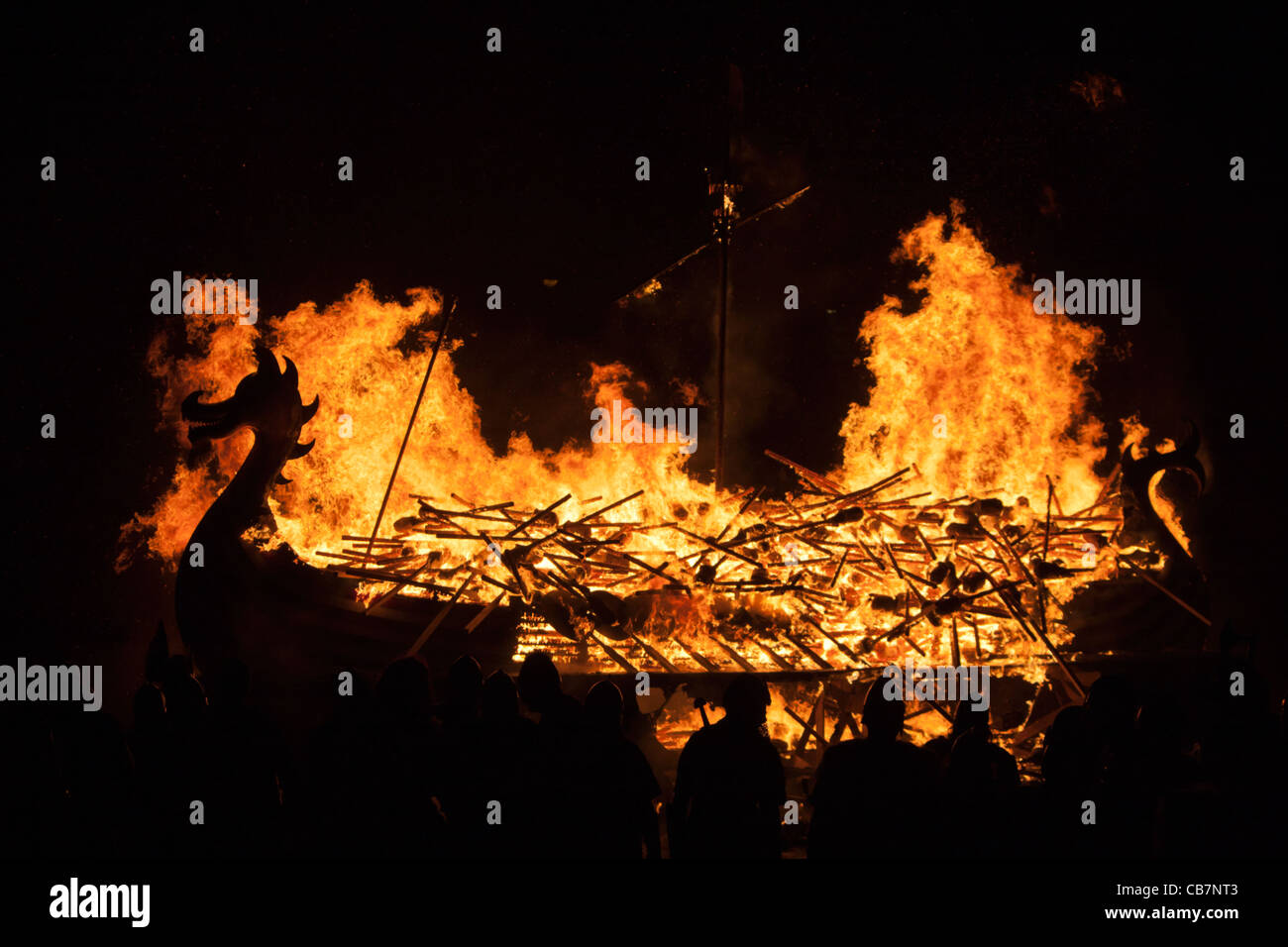The burning of a Viking Galley at the Up Helly Aa festival in Lerwick on the Shetland Islands. Stock Photo