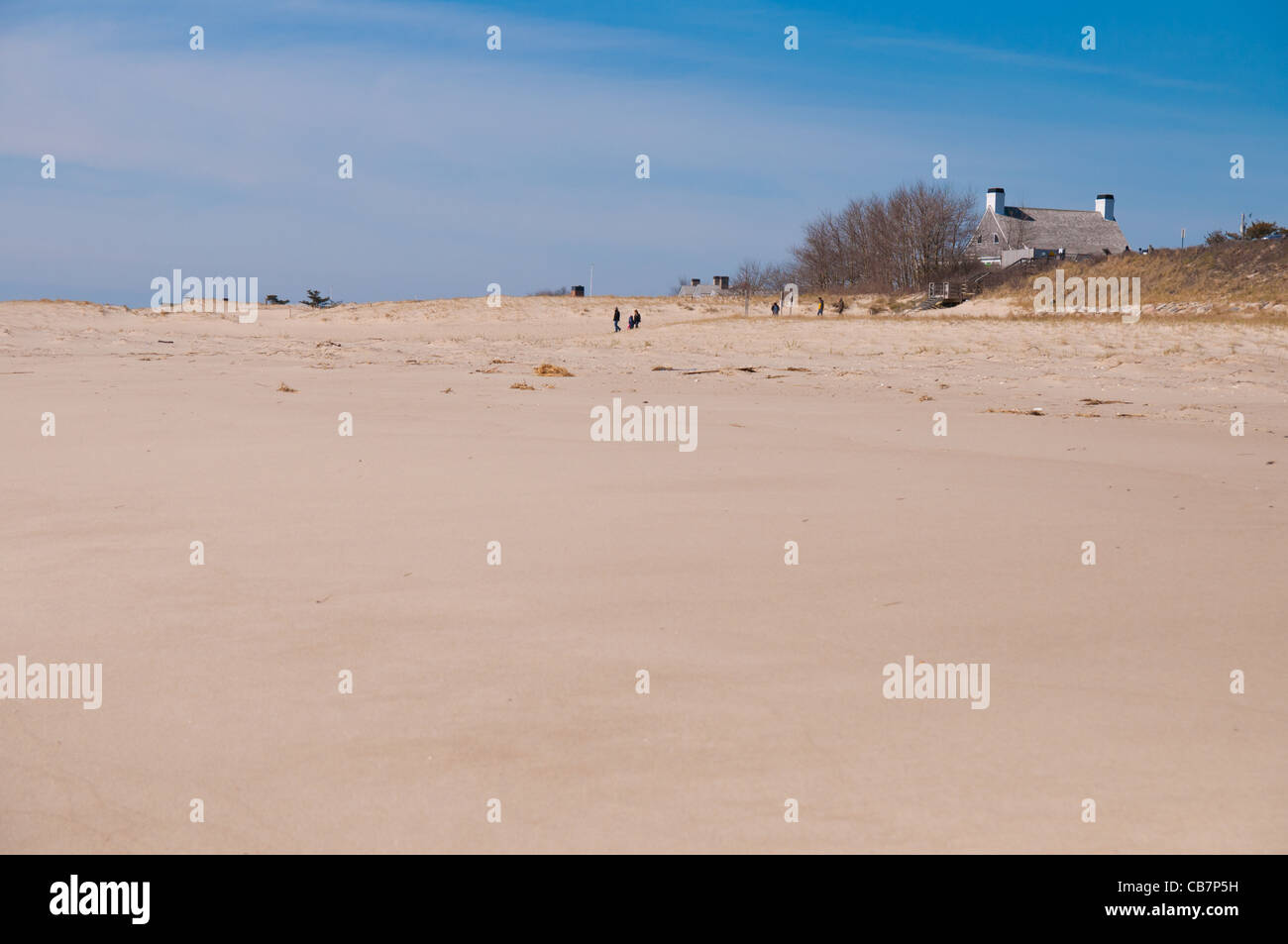 Sand dunes of lighthouse beach In low season in Chatham, Cape Cod Stock Photo