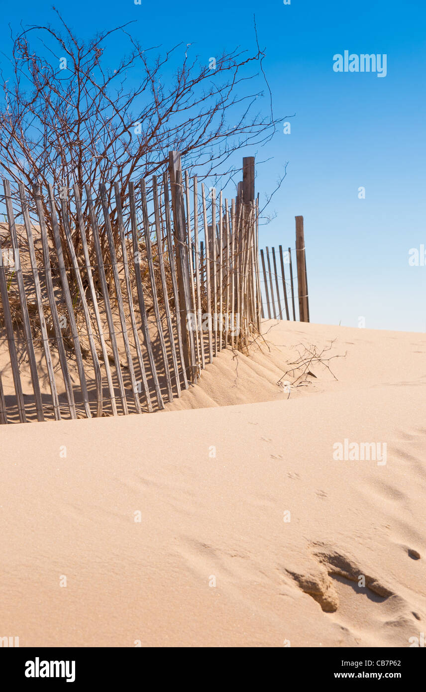 Cape Cod beach fence and sand dunes at beach entrance in Chatham, Cape Cod Stock Photo