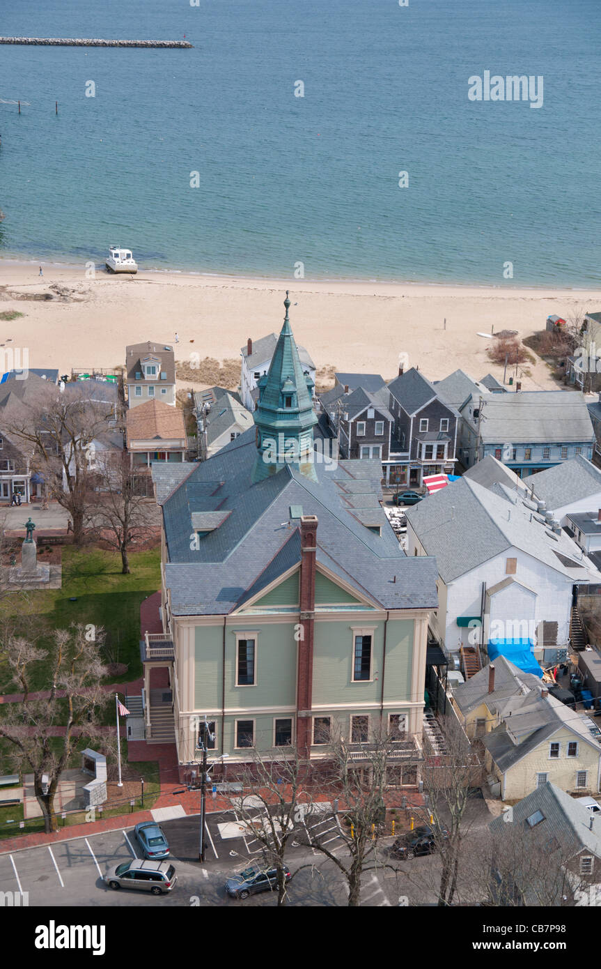 Provincetown town hall from the height of Pilgrim Monument, Cape Cod Stock Photo