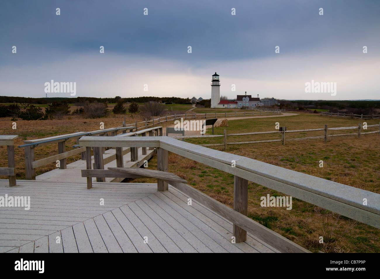 Boardwalk To Highland Light In Truro, Cape Cod Stock Photo