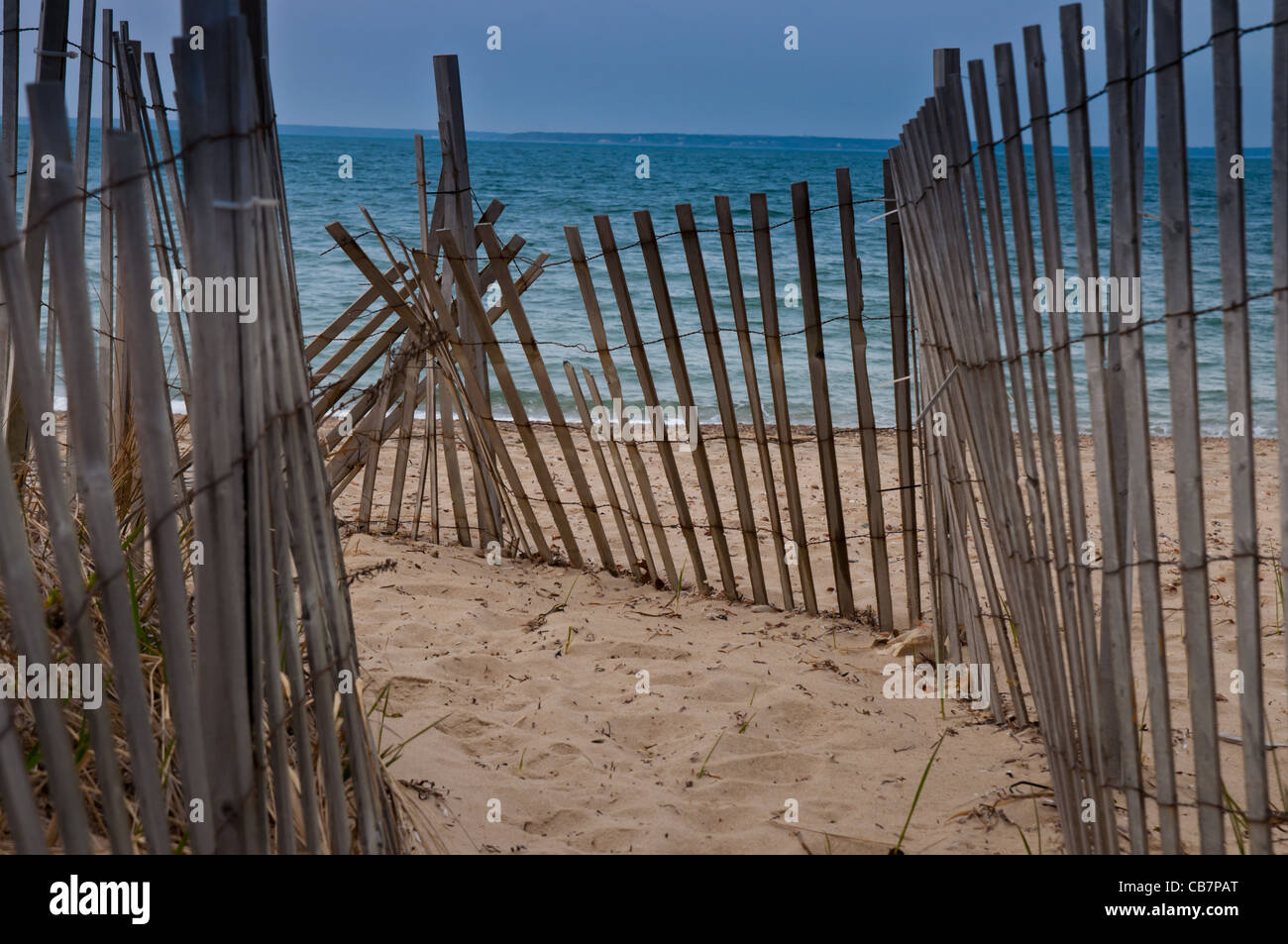 Cape Cod Beach Fence Stock Photo