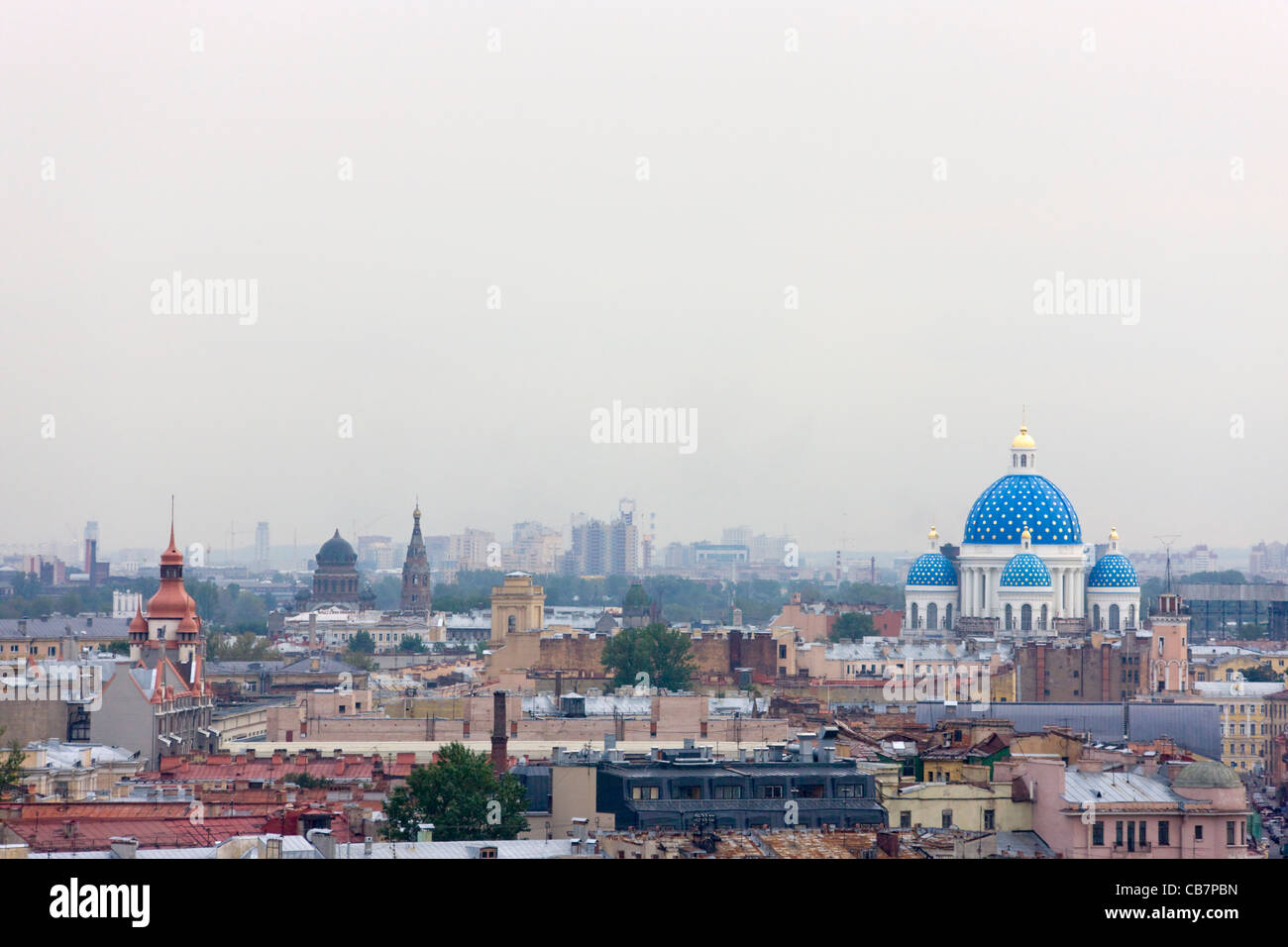 Trinity Cathedral and cityscape, Saint Petersburg, Russia - Stock Image