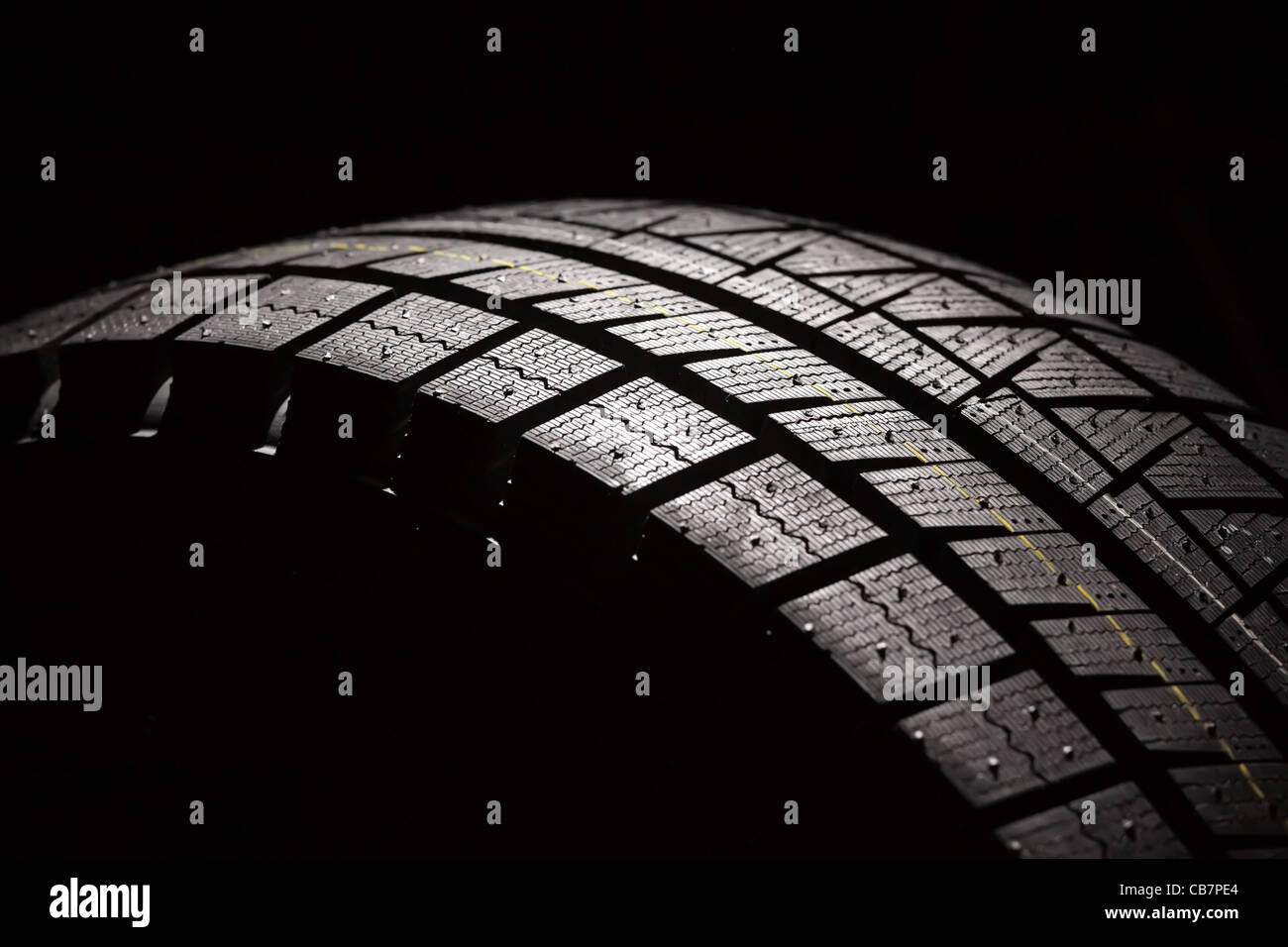 Part of brand new car tyre. Horizontal composition. - Stock Image