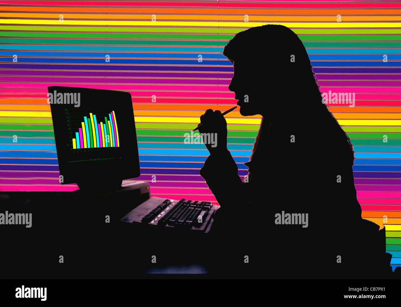 Woman with office computer, illustration. - Stock Image