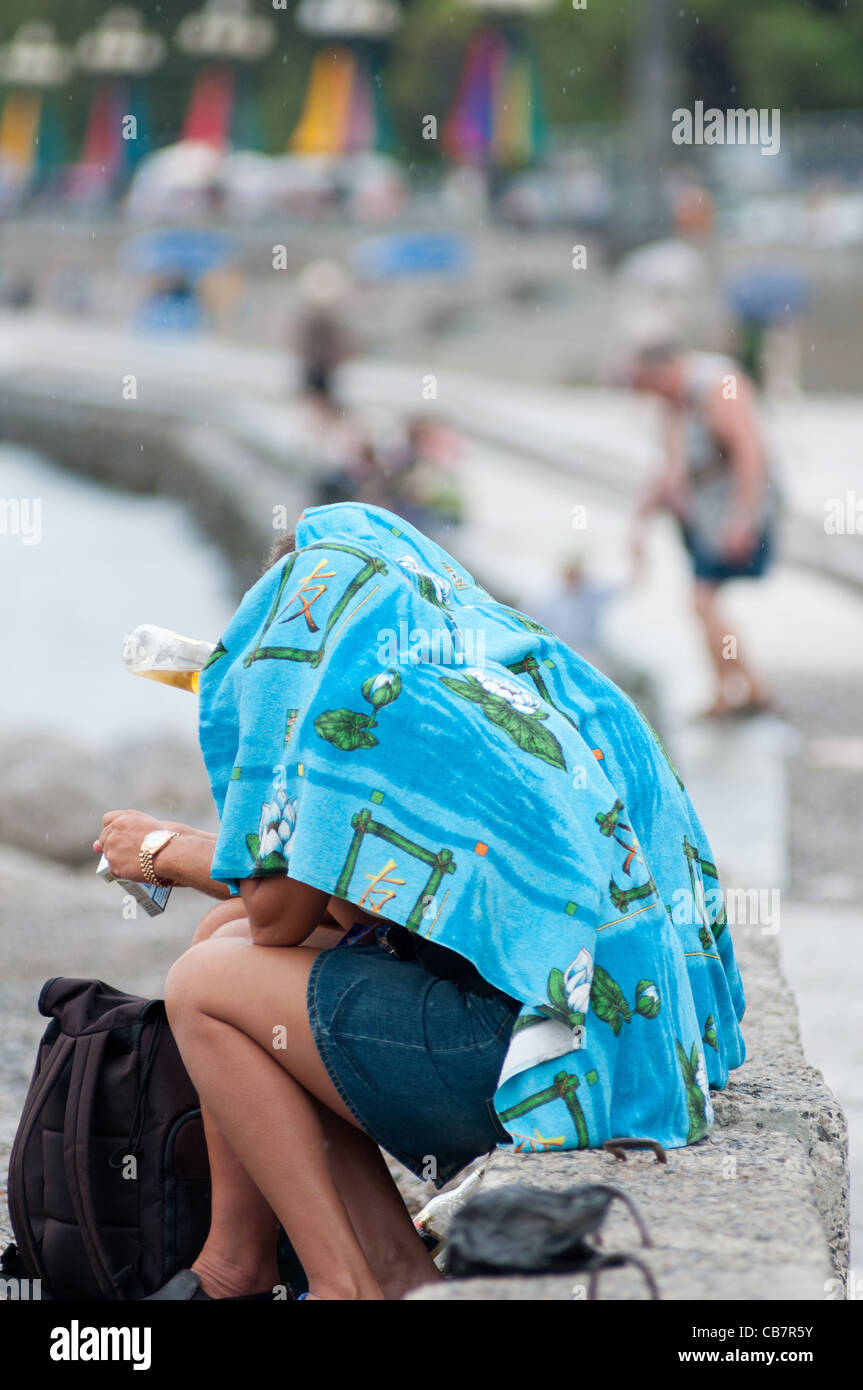 It's raining on the beach at the seaside town of Yalta, Ukraine. - Stock Image