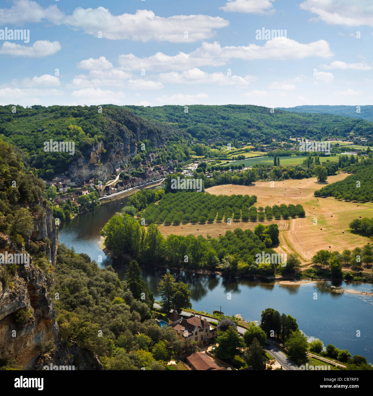Dordogne River, France - looking towards La Roque Gageac Stock Photo
