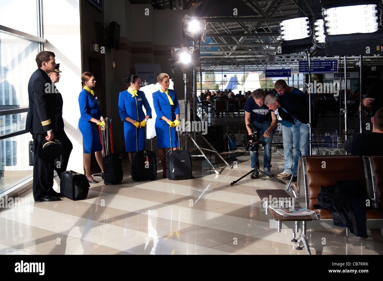 Filming of a promotional video for Ukrainian Airlines at Boryspil International Airport Kiev Ukraine - Stock Image