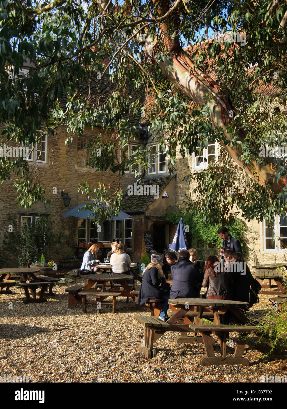 Pub beer garden at country pub in Lacock, Wiltshire, England, UK - Stock Image