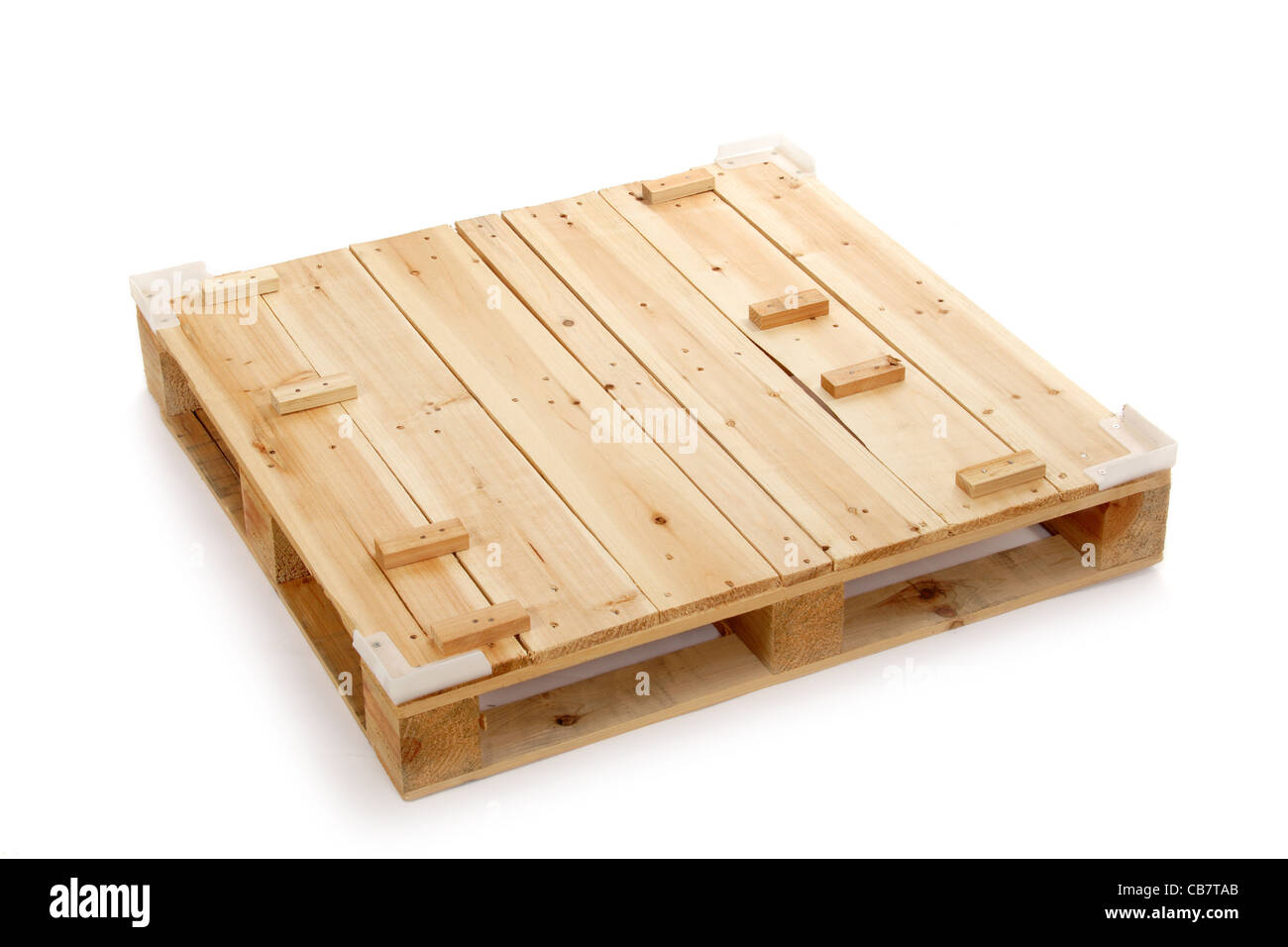 wooden shipping pallet, photo on the white background Stock