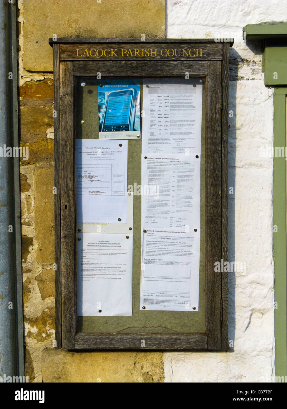 Notice board for the Parish Church in Lacock, Wiltshire, England, UK - Stock Image