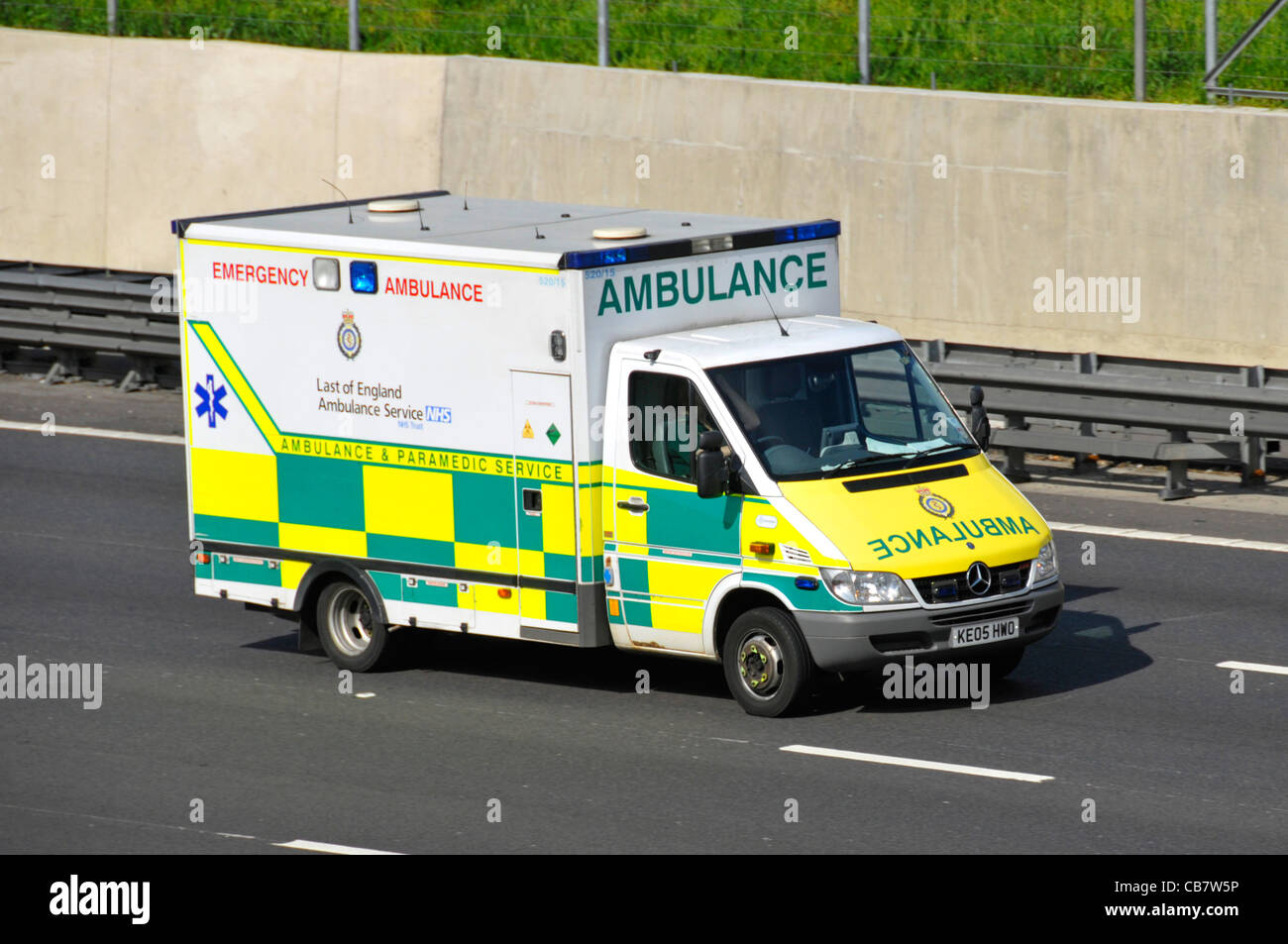Emergency ambulance apparant spelling mistake on side stating Last instead of (assumed) East or possibly vandalism - Stock Image