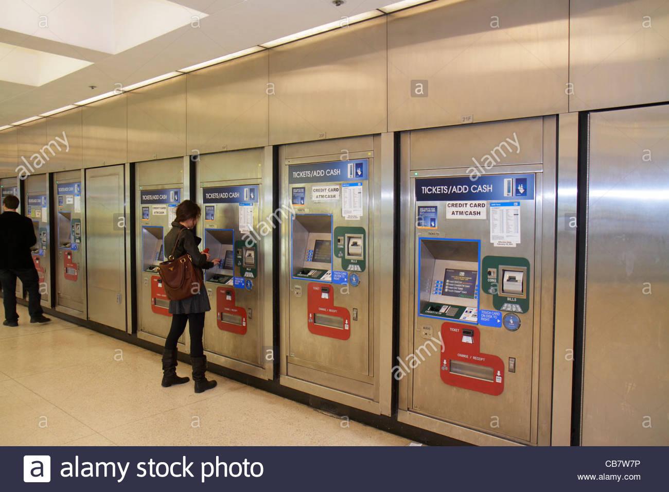 San Francisco California Market Street BART Montgomery Station mass transit public transportation ticket machine - Stock Image