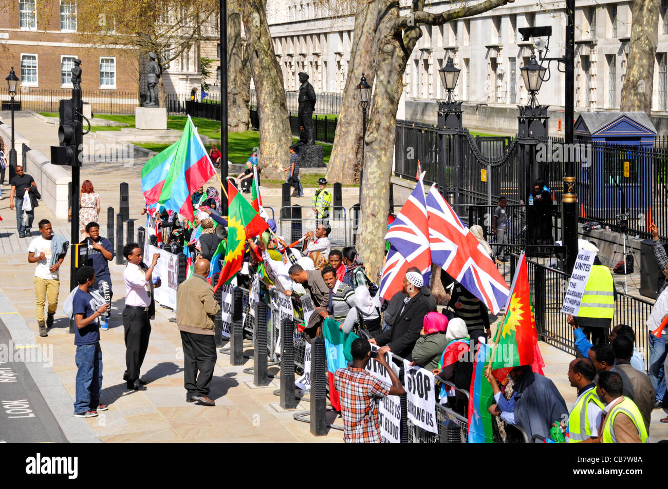 Protesters in demonstration about Ethiopia in Whitehall opposite Downing Street - Stock Image