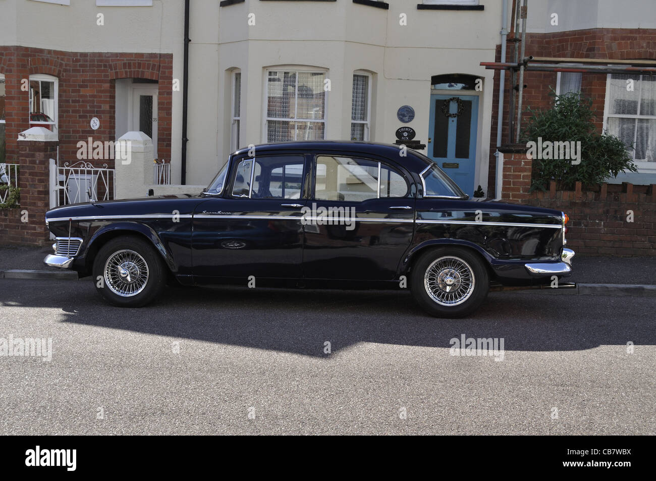 Nearside view of Humber Super Snipe Series III in a side street in Sidmouth, Devon. - Stock Image