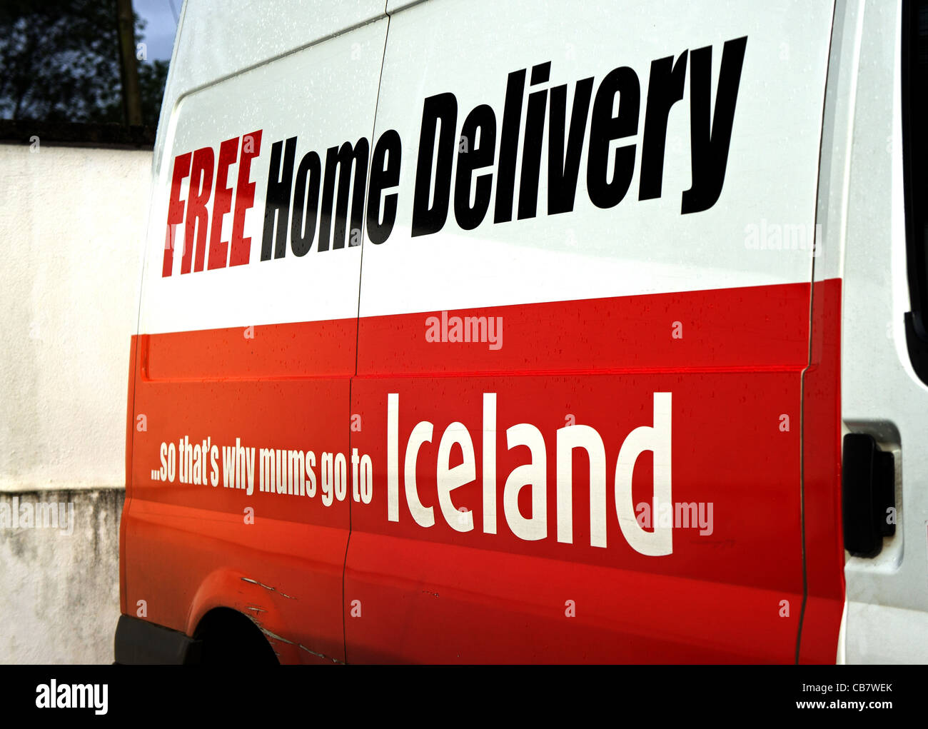 An Iceland home delivery van, UK - Stock Image