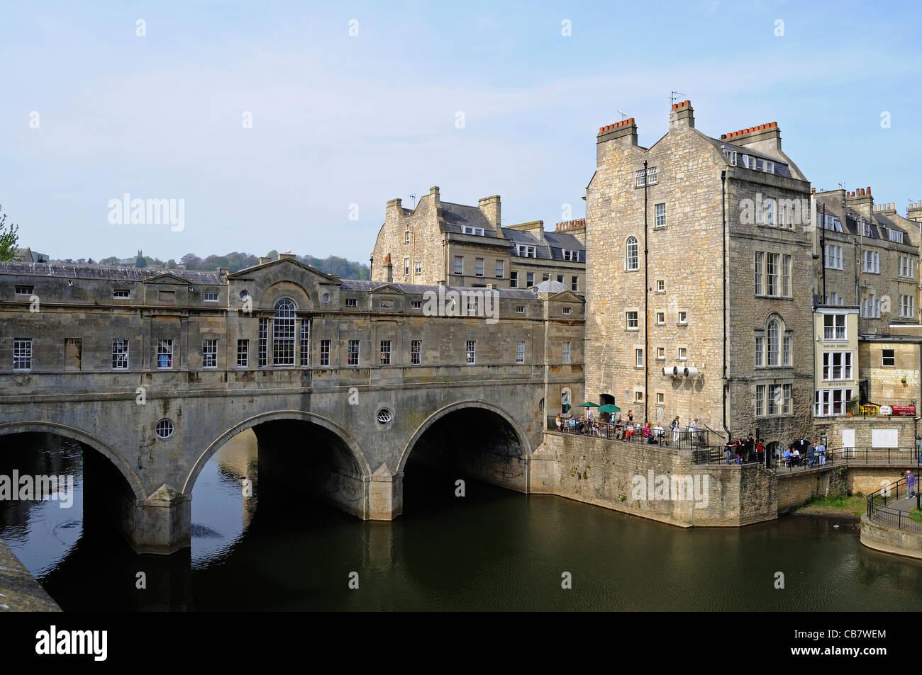 The Famous Pulteney Bridge Over River Avon In Bath England UK