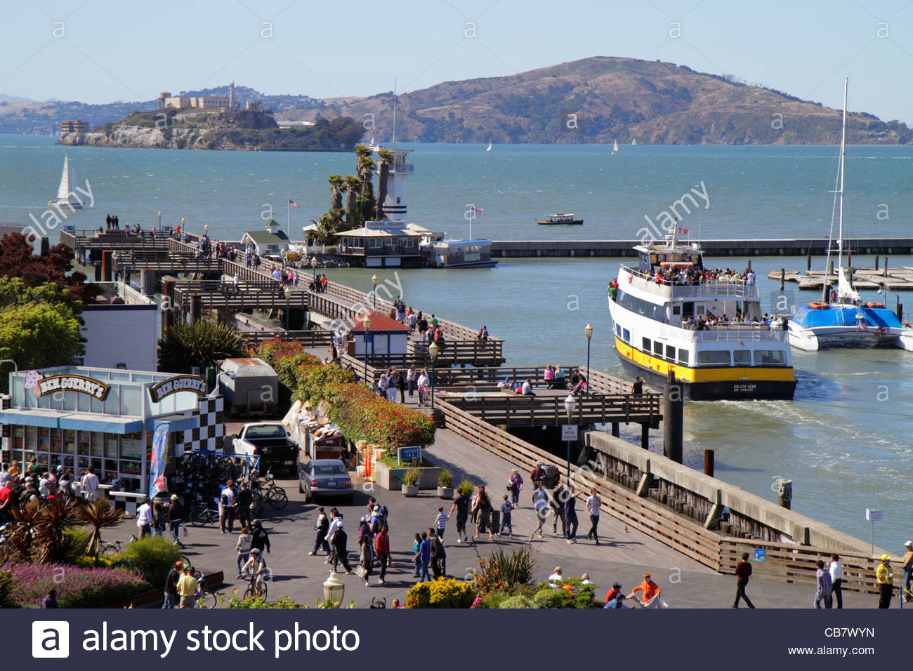 San Francisco California Bay Alcatraz Angel Island Mount Livermore mountain The Embarcadero Pier 39 41 dock waterside - Stock Image