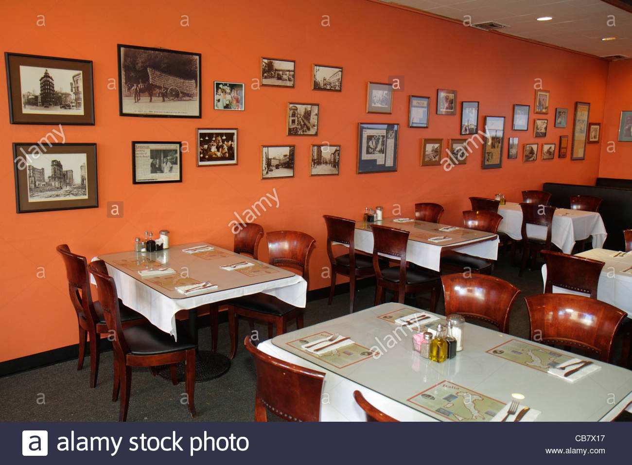 San Francisco California Market Street Little Joeu0027s Italian Restaurant  Empty Dining Table Place Setting Framed Photographs Decor