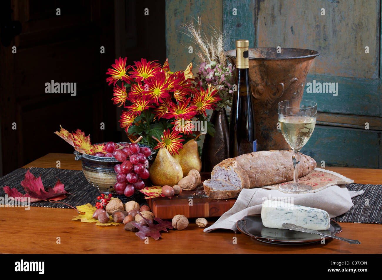 Elegant French Country Style Still Life With Wine Cheese Bread Fruit Nuts
