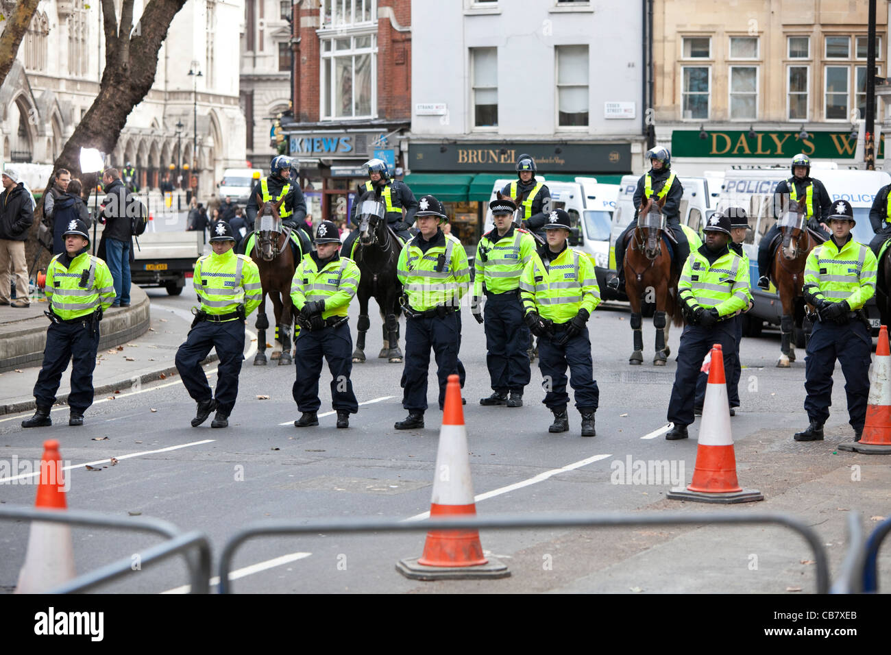 British Police force at Public sector strike (the unions), London, England, 2011, UK. - Stock Image