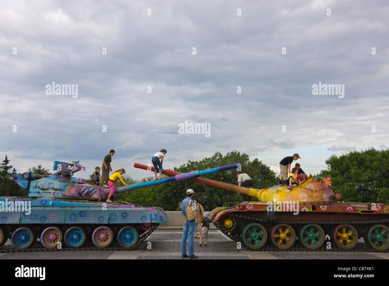 Tanks in Museum of the Great Patriotic War, Kiev, Ukraine - Stock Image