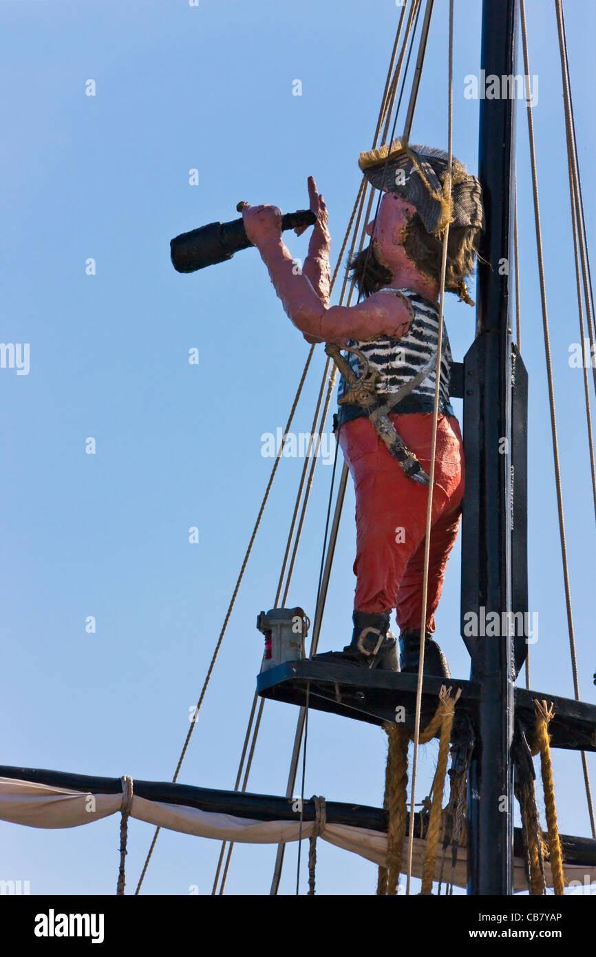 Statue on ship mast, Yalta, Crimea, Ukraine - Stock Image