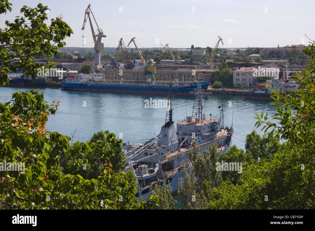 Ships in the naval base, Sevastopol, Crimea, Ukraine - Stock Image