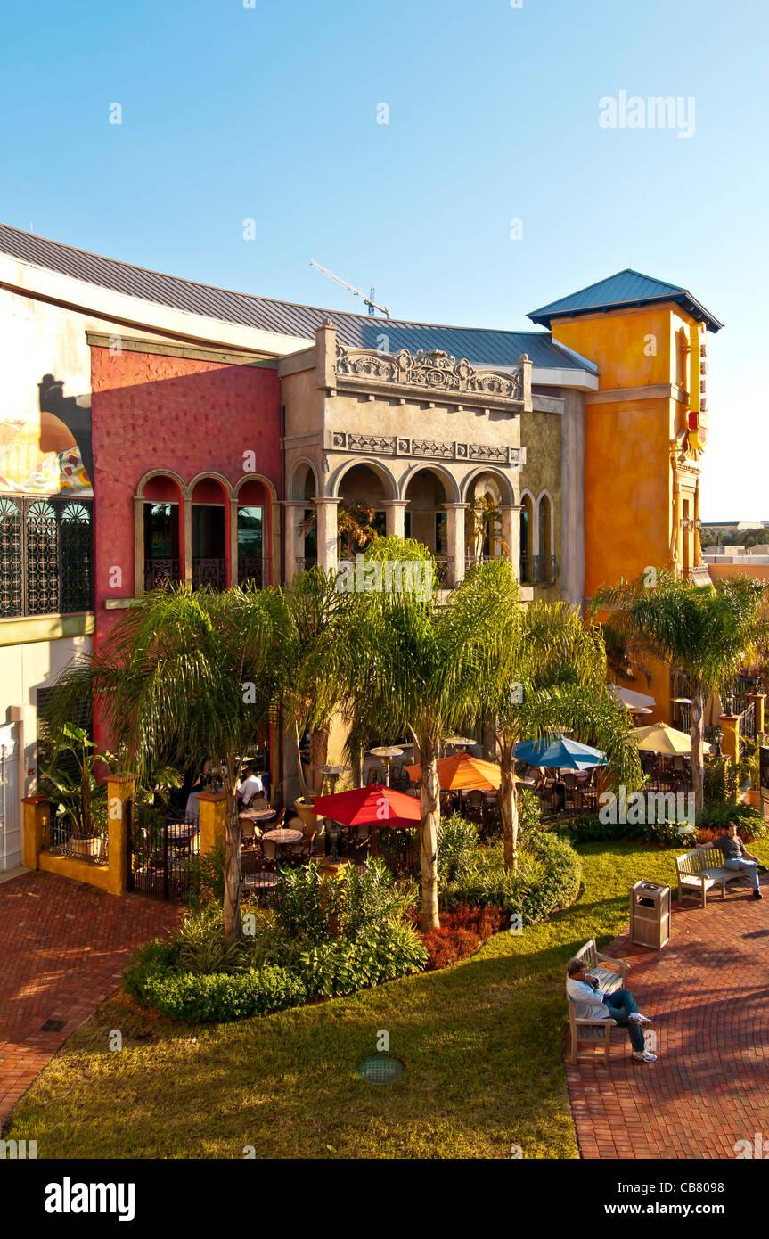 Cuba Libre Restaurant & Rum Bar outdoor cafe at Pointe Orlando on International Drive, Orlando Florida - Stock Image