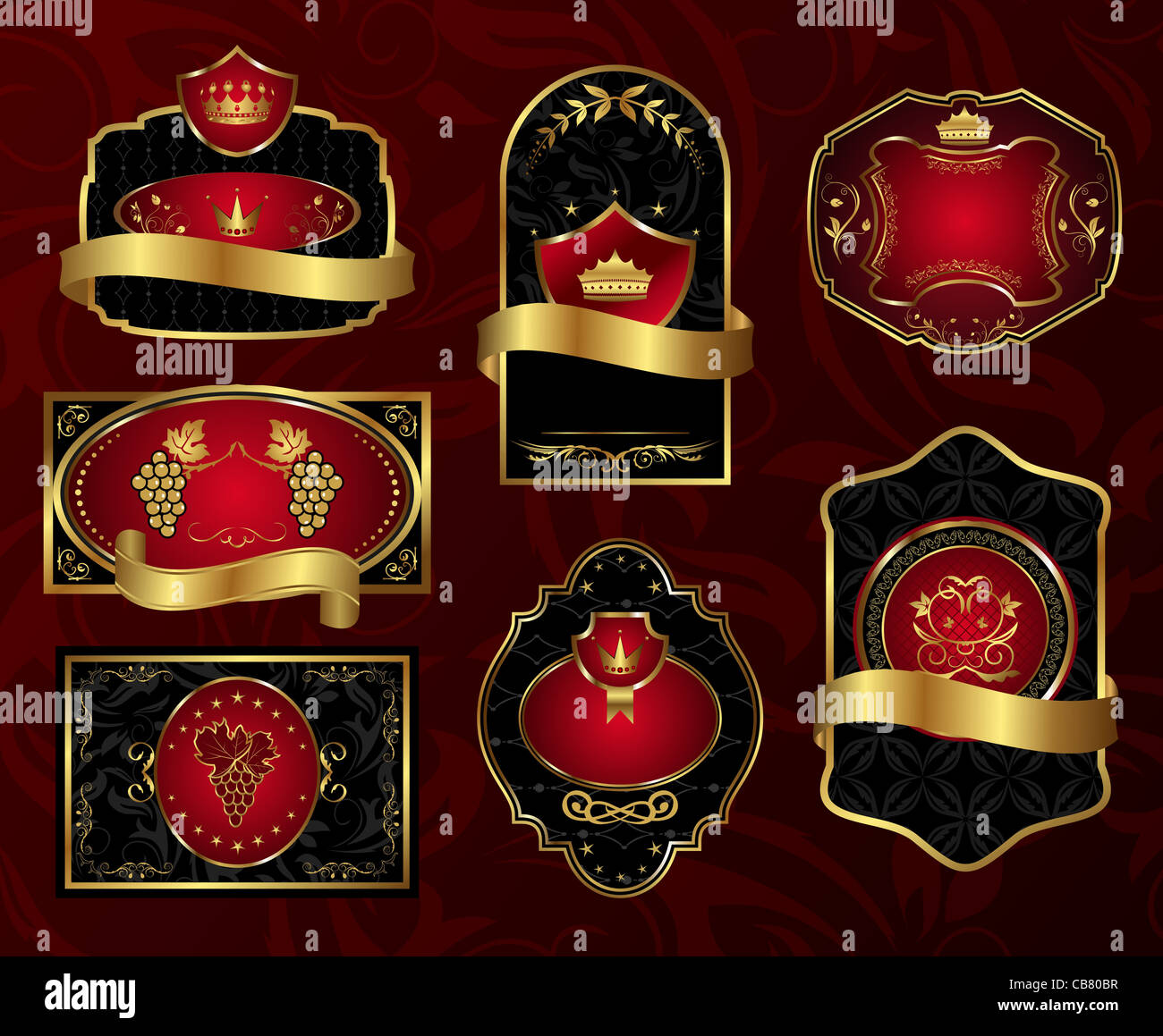 Illustration set golden frames labels with heraldic shield, crown ...