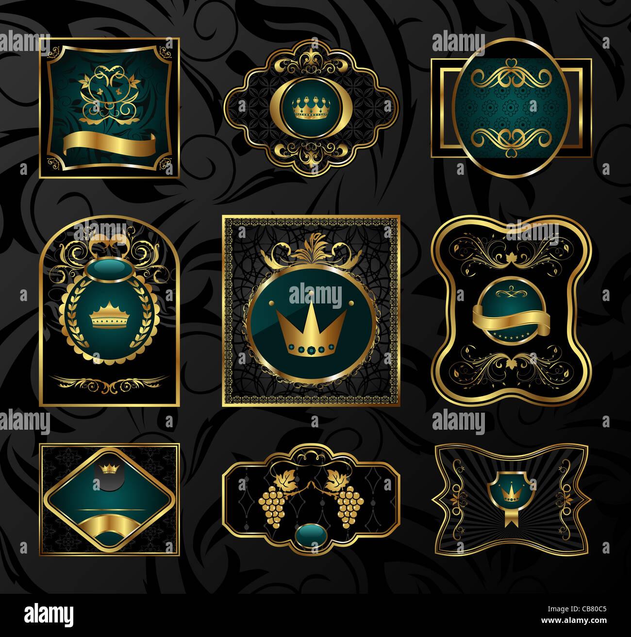 Illustration set golden frames labels with heraldic shield, crown ...