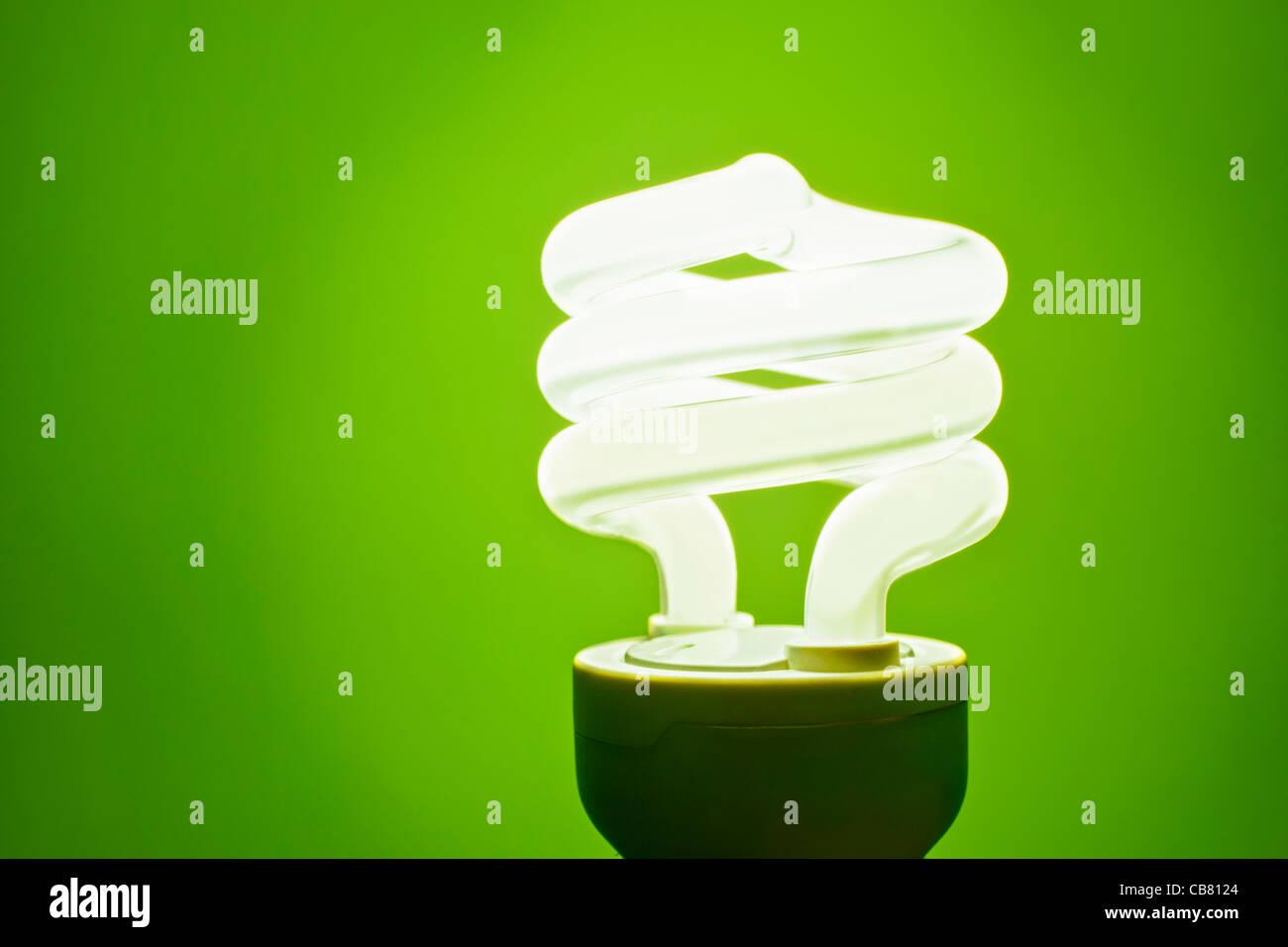 Green Lightbulb - Stock Image