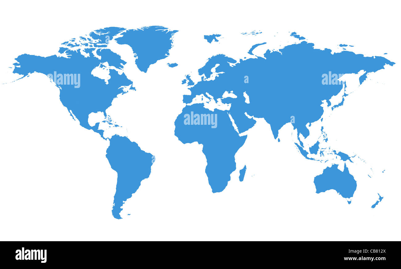 World Map with Clipping Path - Stock Image